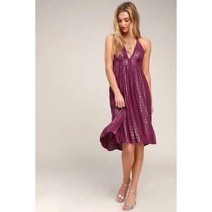 Lulus Charlize Magenta Striped Halter Midi Dress